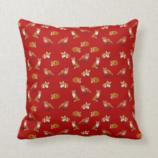 Red Fox Family Throw Pillow Cranberry