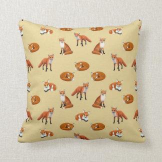 Red Fox Family Throw Pillow Tan