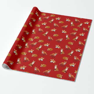 Red Fox Family Wrapping Paper Cranberry