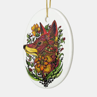 Red Fox, Floral Print, Gift Christmas Ornament