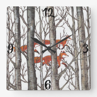 Red Fox Foxes Gray Winter Forest Woodland Clock