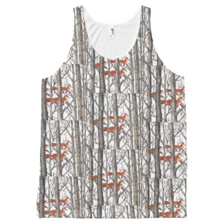 Red  Fox Foxes in Gray Woods Women's Tank Top