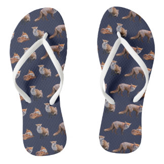 Red Fox Frenzy Flip Flops (Blue)