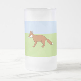 Red Fox. Frosted Glass Beer Mug
