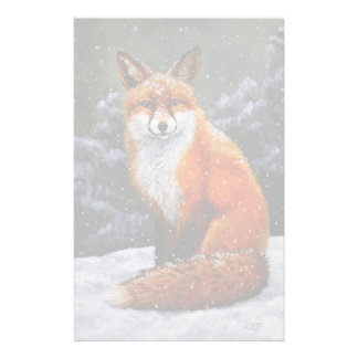 Red Fox in Falling Snow Stationery