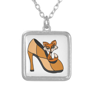 Red Fox in High Heel Shoe Art Silver Plated Necklace