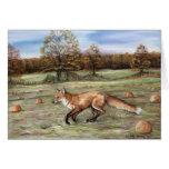 Red Fox in Pumpkin Patch Art Note Card