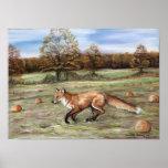Red Fox in Pumpkin Patch Art Print