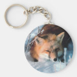 Red Fox in Snow Key Chains