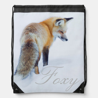 Red Fox in Winter Drawstring Bag