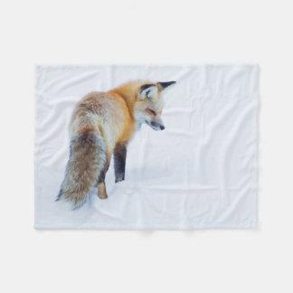 Red Fox in Winter Fleece Blanket
