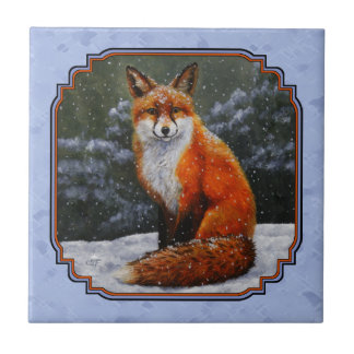 Red Fox in Winter Snow Blue Tile