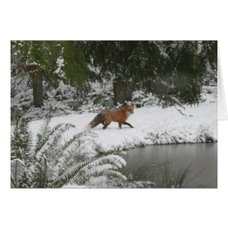 Red Fox in Winter Wonderland Greeting Card