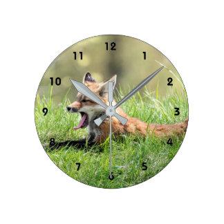 Red Fox Kit Yawning Round Clock