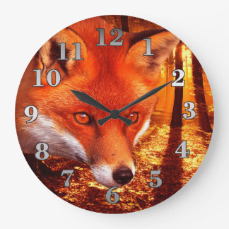 Red Fox Large Clock