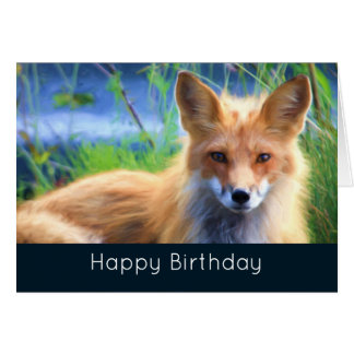 Red Fox Laying in Grass Scenic Wildlife Birthday Greeting Card