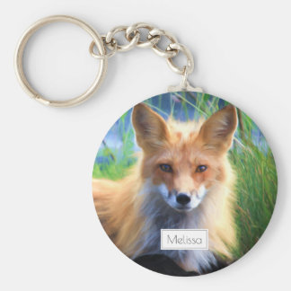 Red Fox Laying in the Grass Scenic Personalized Basic Round Button Key Ring