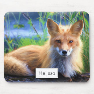 Red Fox Laying in the Grass Scenic Personalized Mouse Mat
