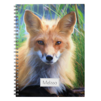 Red Fox Laying in the Grass Scenic Personalized Notebook