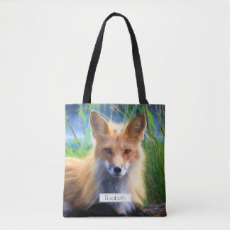 Red Fox Laying in the Grass Scenic Personalized Tote Bag