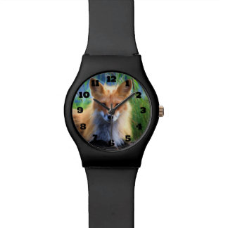 Red Fox Laying in the Grass Wildlife Image Wristwatch