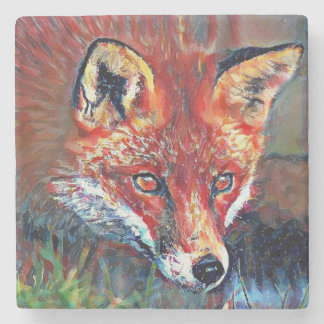 Red Fox Marble Coaster Stone Beverage Coaster