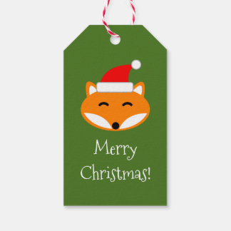 Red fox Merry Christmas to and from blank Holiday Gift Tags