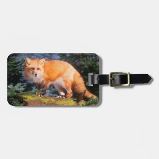 Red Fox on a log Luggage Tag