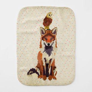 Red Fox & Owl Polkadot Burp Cloth