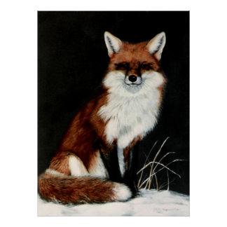 RED FOX painting by DiDi Poster