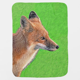 Red Fox Painting - Original Wildlife Art Baby Blanket