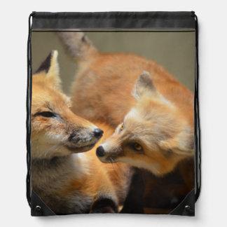 Red Fox Pair Drawstring Bag
