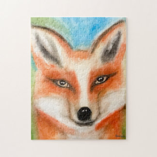 Red Fox Pastel Art Cartoon Whimsical Blue Green Jigsaw Puzzle