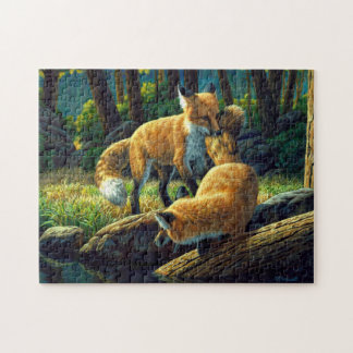 Red Fox Pups Playing Jigsaw Puzzle