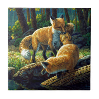 Red Fox Pups Playing Tile