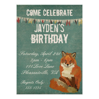 Red Fox Retro Birthday Invitation