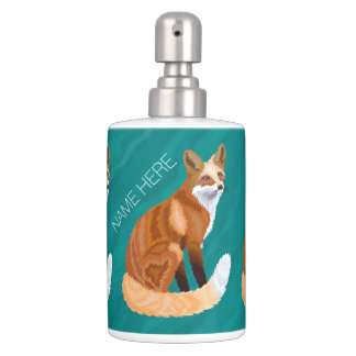 Red Fox Retro Style Bathroom Decor Trendy Teal Toothbrush Holders