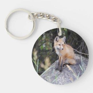Red fox round keychain