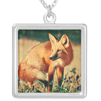 Red Fox Silver Plated Necklace