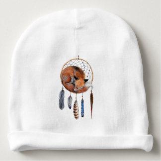 Red Fox Sleeping on Dreamcatcher Baby Beanie