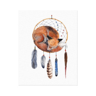 Red Fox Sleeping on Dreamcatcher Canvas Print