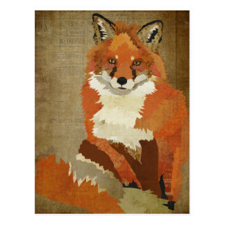 Red Fox Vintage Postcard