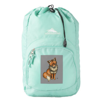 Red Fox with Grey background Backpack