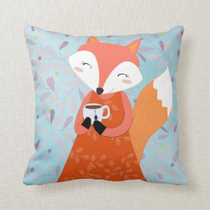 Red fox with Tea Cup cute pillow