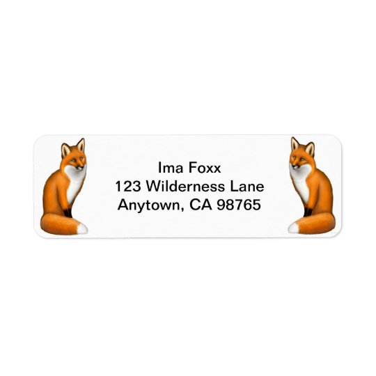 Red Foxes Customisable Return Address Label