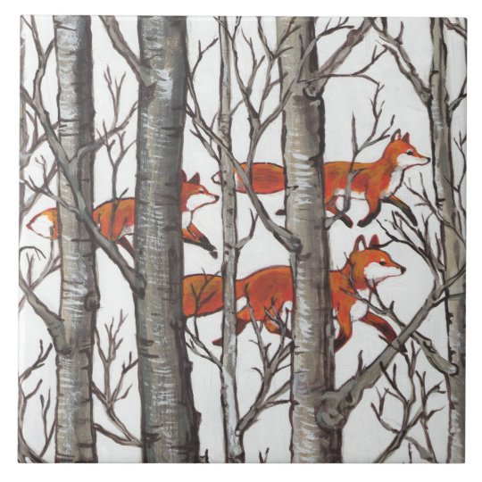 Red Foxes in Woods Art Rustic Look LG