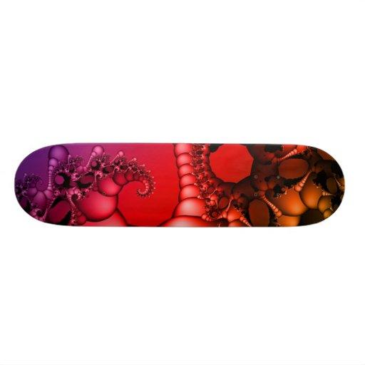 Red Fractal Art Skate Board Deck