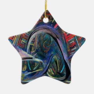 red fractal ceramic star decoration