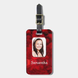Red fractal photo border luggage tag