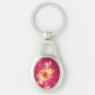 Red Fractal Silver-Colored Oval Key Ring